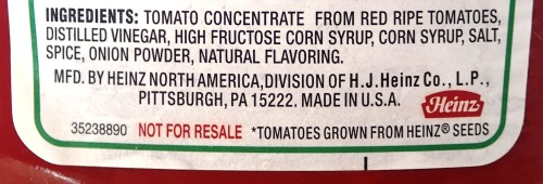 Ingredients on Tomato Sauce bottle in US